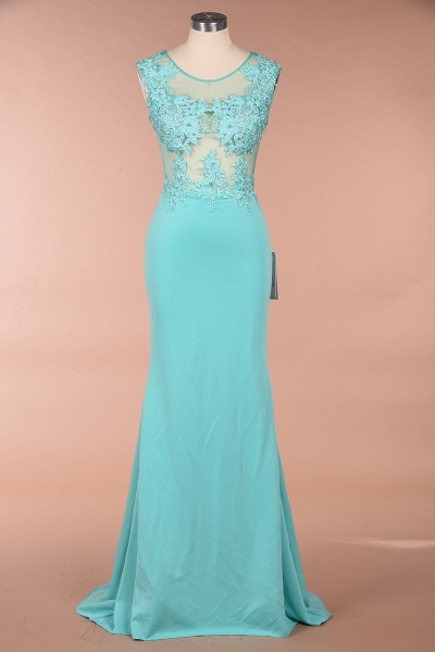 Lace appliques Mint Green Round Neck Cap sleeve Prom Dress_1