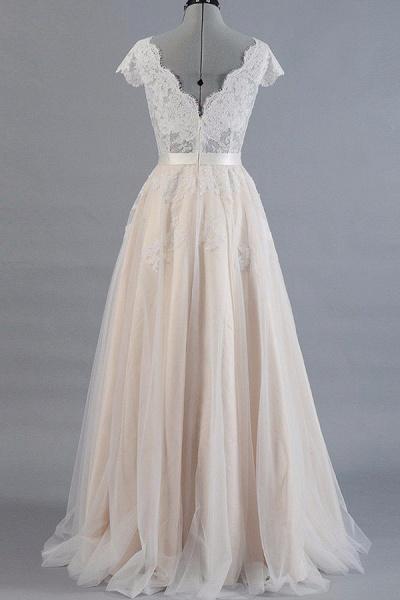 Cute Cap Sleeve V-neck Lace Tulle Wedding Dress_3