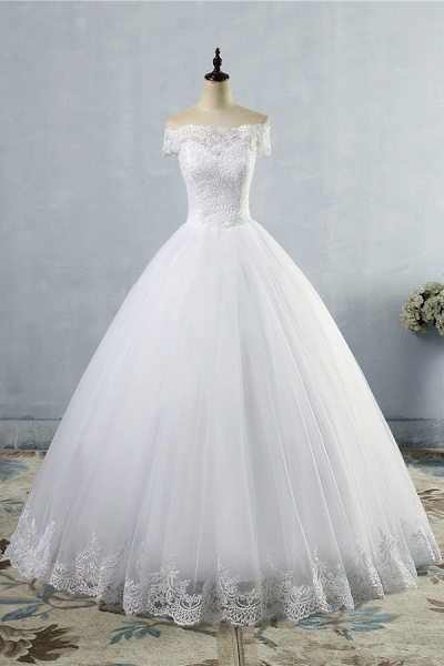 Latest Lace-up Tulle Appliques A-line Wedding Dress_1