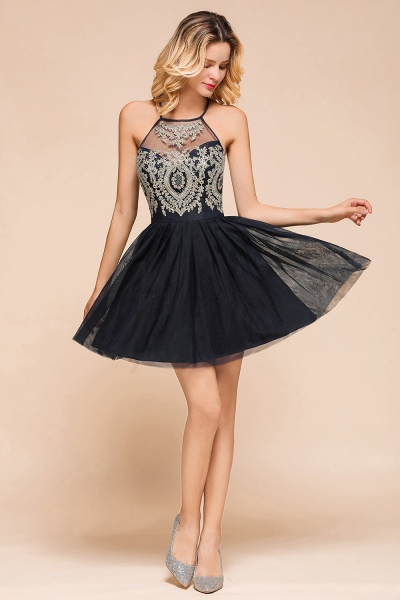 Sweet Halter Appliques Short A Line Prom Dress_5