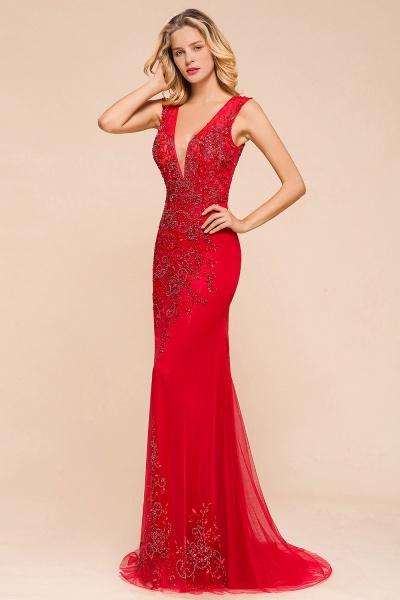 Detachable Deep V-Neck Sleeveless Beadings Tulle Prom Dress_7