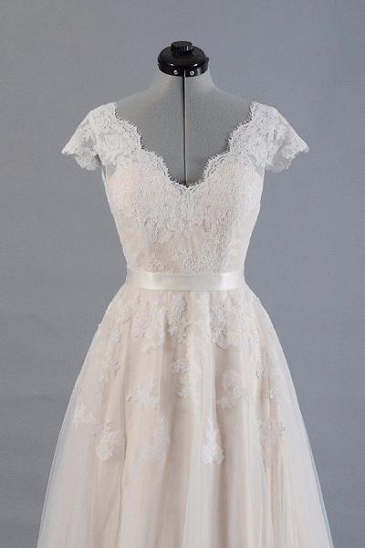 Cute Cap Sleeve V-neck Lace Tulle Wedding Dress_4