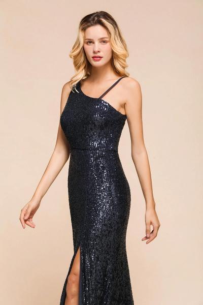 Sleek One Shoulder Split Sequins Mermaid Prom Dress_7