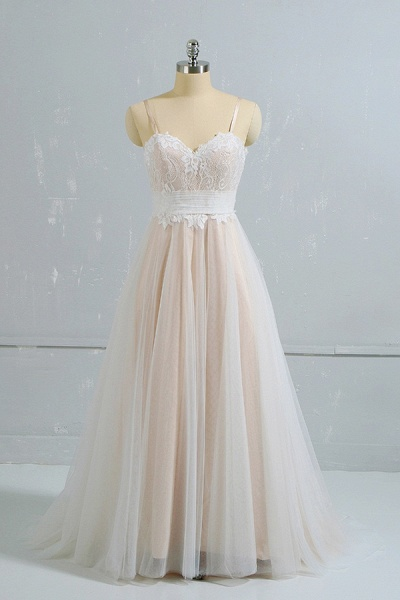Cute Spaghetti Strap Lace A-line Wedding Dress_1