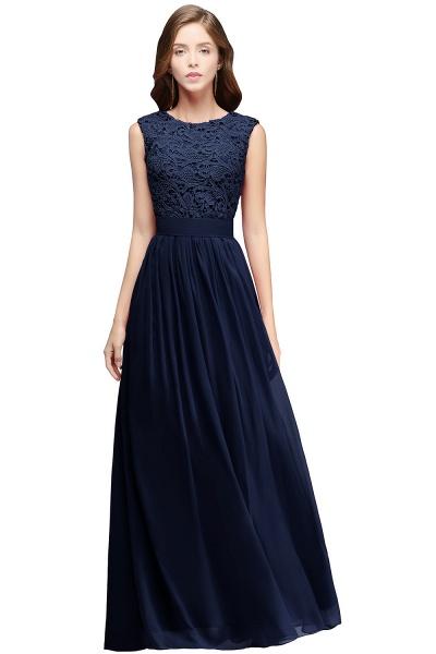 Sheath Crew Sleeveless Floor-length Lace Top Chiffon Bridesmaid Dresses_3