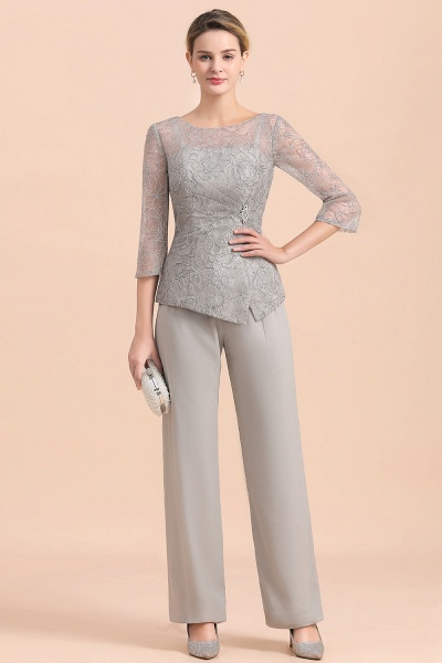 Elegant 3/4 Sleeves Lace Chiffon Jewl Mother of Bride Jumpsuit