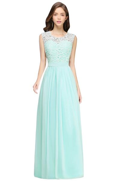 Sheath Crew Sleeveless Floor-length Lace Top Chiffon Bridesmaid Dresses_4