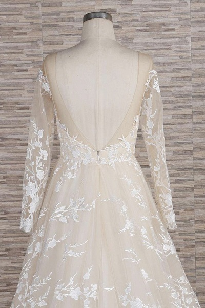 Illusion Long Sleeve Applqiues Tulle Wedding Dress_7