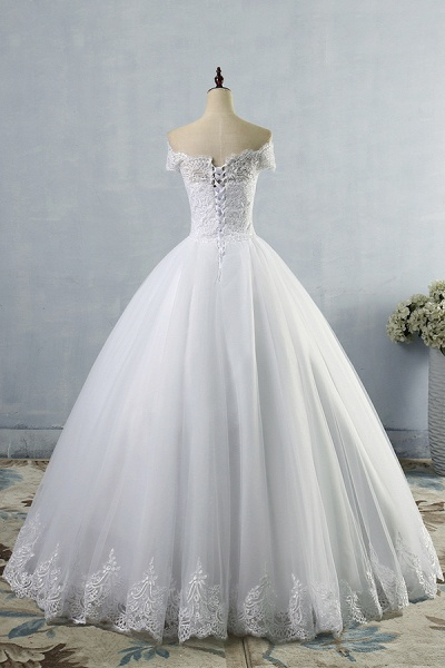 Latest Lace-up Tulle Appliques A-line Wedding Dress_3