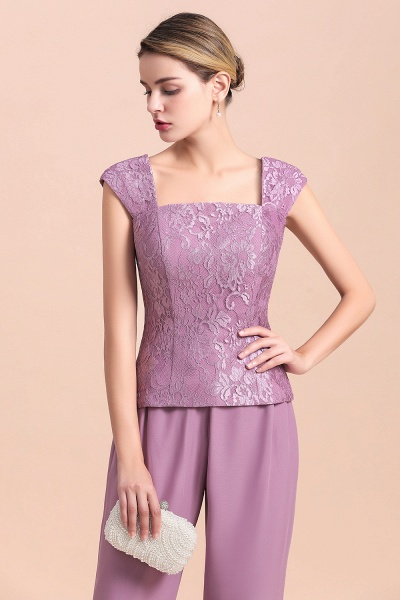 Elegant Lace Cap Sleeves Chiffon Mother of Bride Jumpsuit With Wrap_10