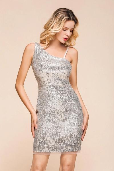 Affordable One Shoulder Sheath Short Prom Dress_8