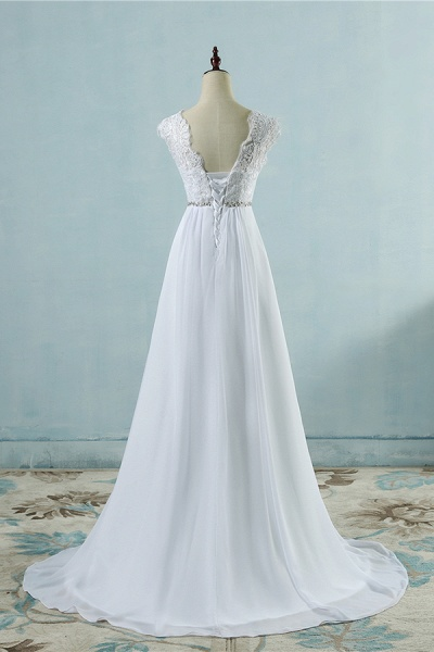 Chic A-line Lace Chiffon Floor Length Wedding Dress_3