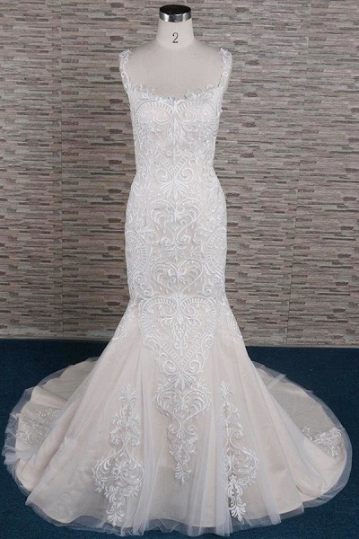 Sleek Square Neck Appliques Mermaid Wedding Dress_2