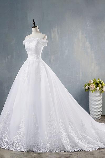 Elegant Appliques Lace Tulle A-line Wedding Dress_4