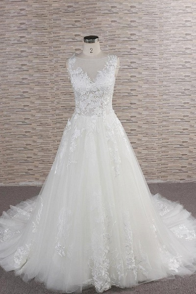 Eye-catching Applqiues Tulle A-line Wedding Dress_1