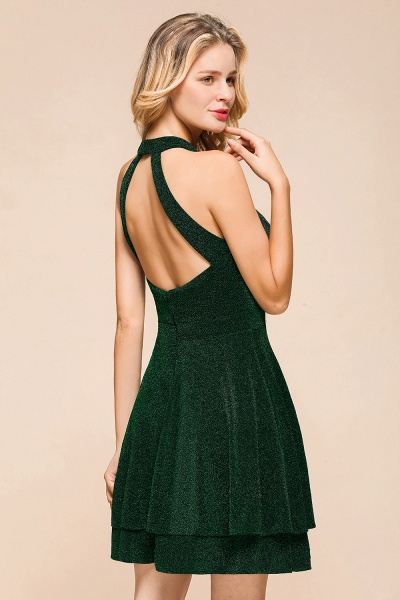 Cute Glitter Open Back Short A Line Prom Dress_10