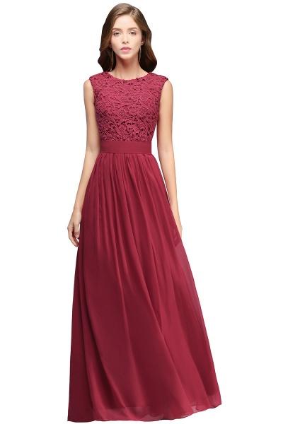 Sheath Crew Sleeveless Floor-length Lace Top Chiffon Bridesmaid Dresses_2