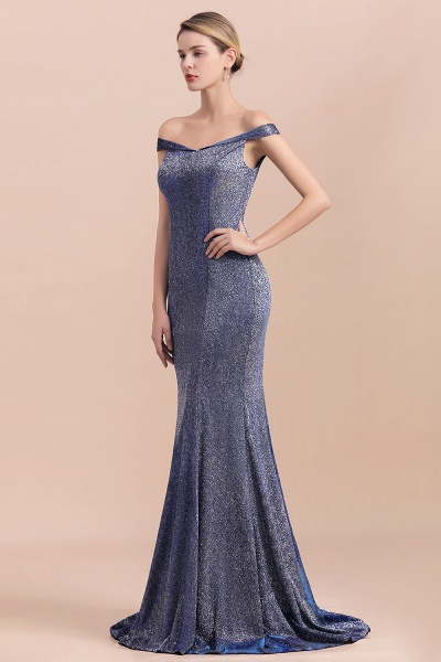 Stunning Bling Sweep Train Mermaid Long Prom Dress_5