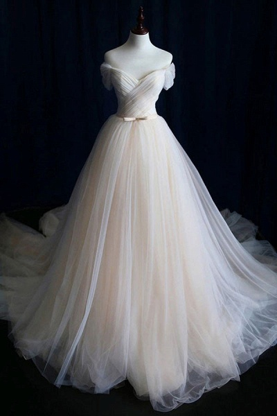 Awesome Lace-up Ruffle Tulle A-line Wedding Dress_1
