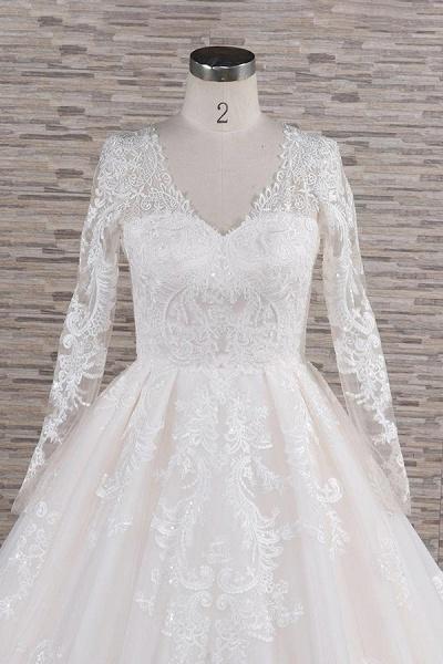 Graceful V-neck Long Sleeve Appliques Wedding Dress_5