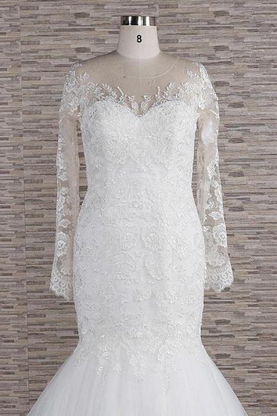 Graceful Appliques Long Sleeve Mermaid Wedding Dress_5