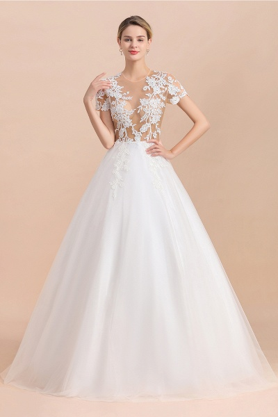 Chic Lace Tulle A-line Short Sleeve Wedding Dress_5