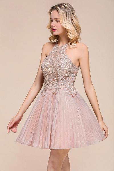 Cute Pleated Lace Appliques A-line Short Prom Dress_7