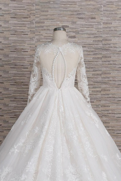 Graceful V-neck Long Sleeve Appliques Wedding Dress_7