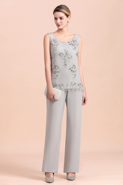 Glamorous Appliques Sleeveless Silver Chiffon Mother of Bride Jumpsuit With Wrap_7