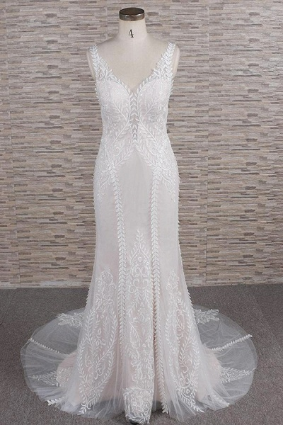 Latest V-neck Appliques Tulle Mermaid Wedding Dress_1