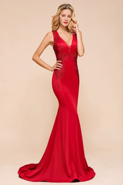 Stunning V-neck Lace Appliques Mermaid Prom Dress_4