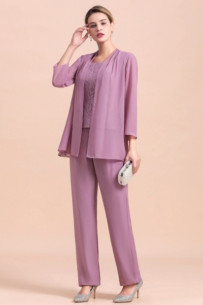 Elegant Lace Cap Sleeves Chiffon Mother of Bride Jumpsuit With Wrap_8