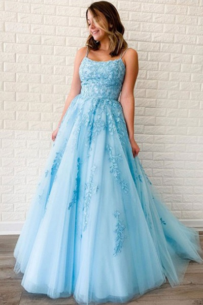 BC3627 A-line Lace Beaded Spagheitt Straps Evening Prom Dresses | Evening Party Prom Dresses
