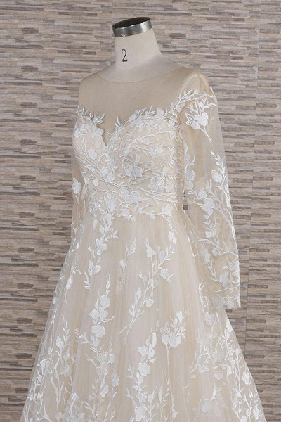 Illusion Long Sleeve Applqiues Tulle Wedding Dress_6