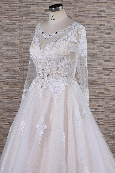 Illusion Appliques Long Sleeve Tulle Wedding Dress_6