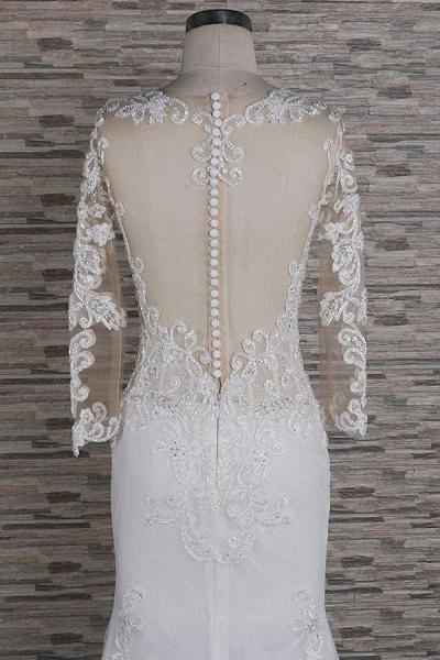 Beading Appliques Long Sleeve Mermaid Wedding Dress_5
