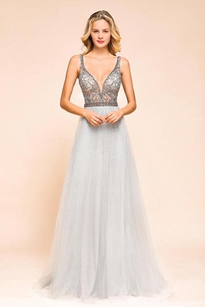 Latest Beading V-Neck Tulle Floor Length Prom Dress_5