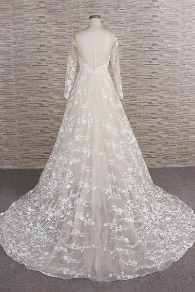 Illusion Long Sleeve Applqiues Tulle Wedding Dress_3