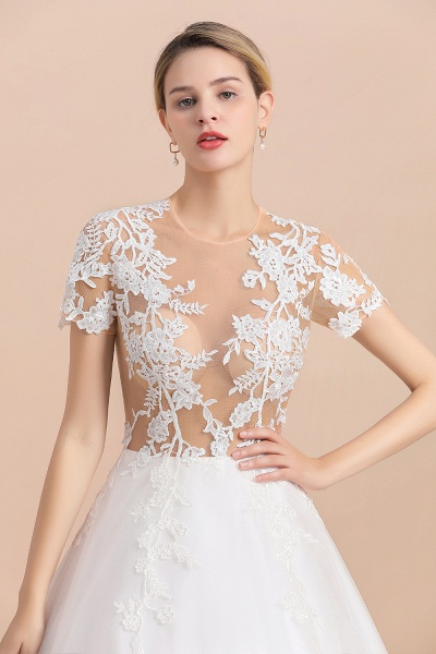 Chic Lace Tulle A-line Short Sleeve Wedding Dress_8