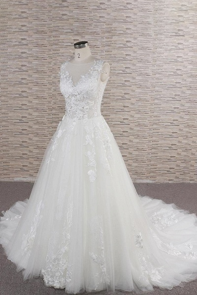 Eye-catching Applqiues Tulle A-line Wedding Dress_4