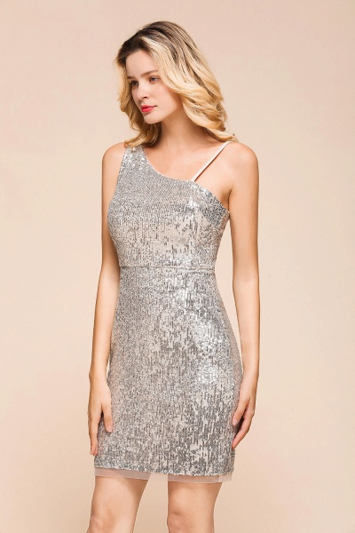 Affordable One Shoulder Sheath Short Prom Dress_7