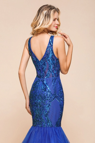 Gorgeous V-neck Open Back Sequins Mermaid Prom Dress_9