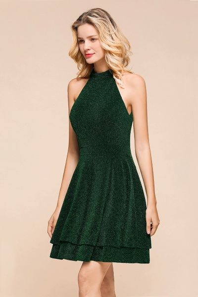 Cute Glitter Open Back Short A Line Prom Dress_8