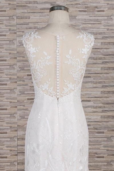 Elegant Lace Appliques Tulle Mermaid Wedding Dress_6