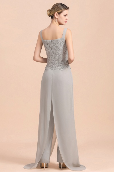 Chic Silver Lace Chiffon Long Sleeve Mother of Bride Jumpsuit With Wrap_11