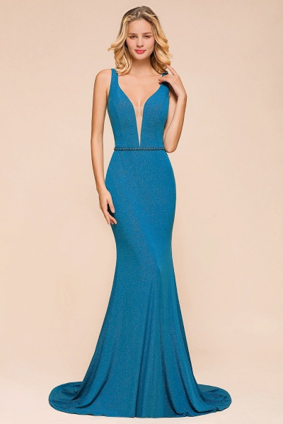 Elegant Open Back V-neck Long Mermaid Prom Dress_5