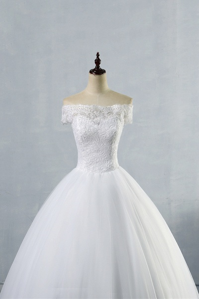 Latest Lace-up Tulle Appliques A-line Wedding Dress_5