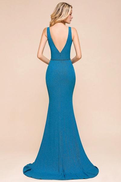 Elegant Open Back V-neck Long Mermaid Prom Dress_3