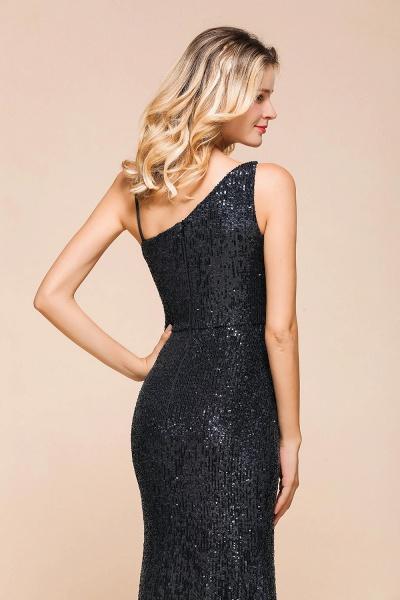 Sleek One Shoulder Split Sequins Mermaid Prom Dress_8