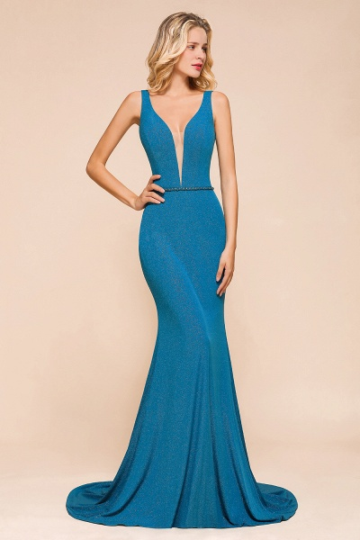 Elegant Open Back V-neck Long Mermaid Prom Dress_7